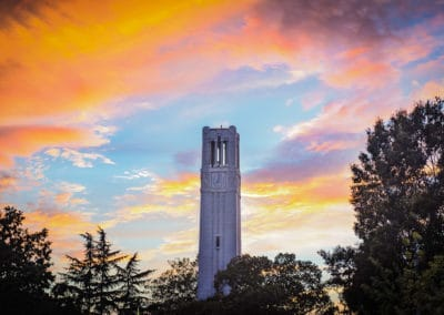 The sun sets behind NC State's Belltower.