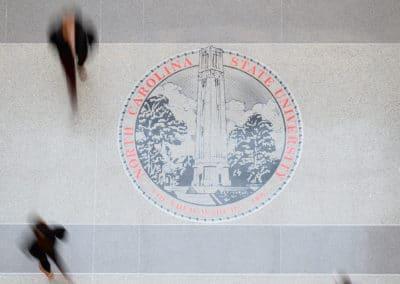 NC State seal inside Talley Student Union