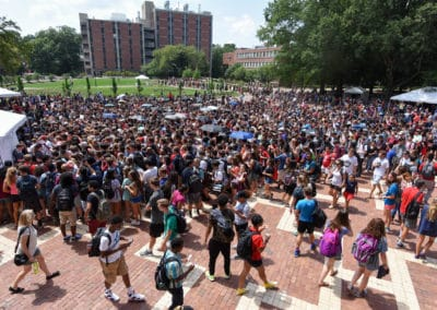 Students fill into the Brickyard to view the solar eclipse on August 21, 2017.